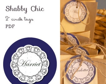 "Shabby Chic 2"" circle labels - editable PDF - add your own text"
