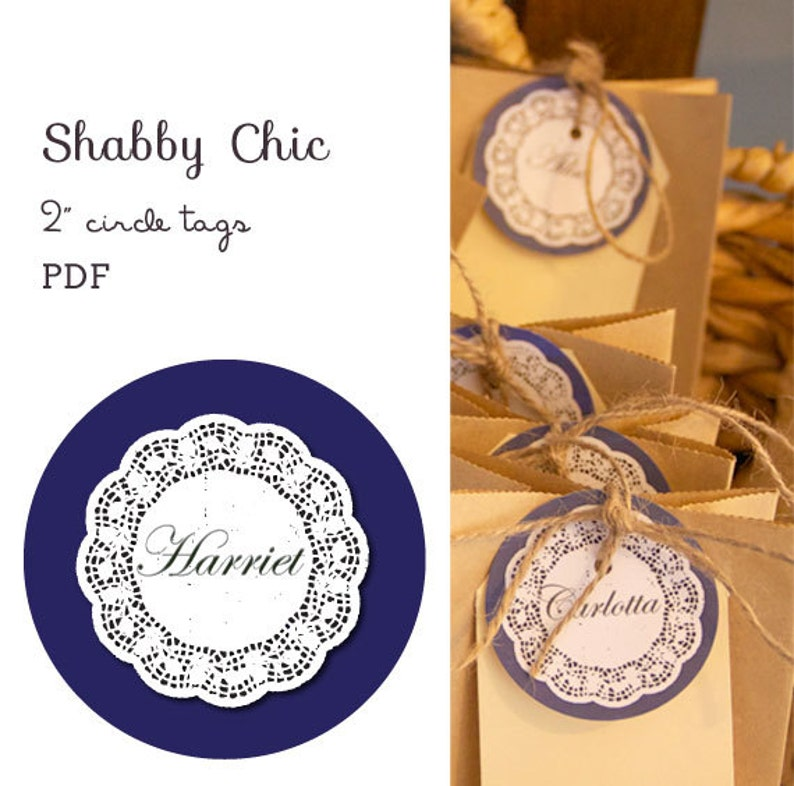 Shabby Chic 2 circle labels  editable PDF  add your image 0