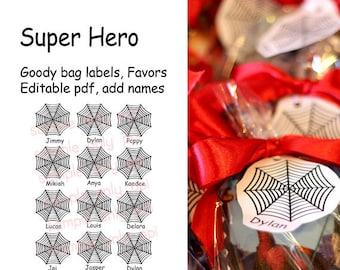 Super Hero / Comic Book Goody Bag /Party Favor labels - editable pdf