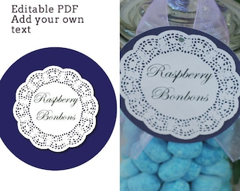 "Shabby Chic 4"" circle labels - editable PDF - add your own text"