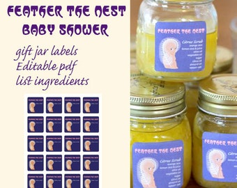 Baby Shower Feather the Nest jar labels