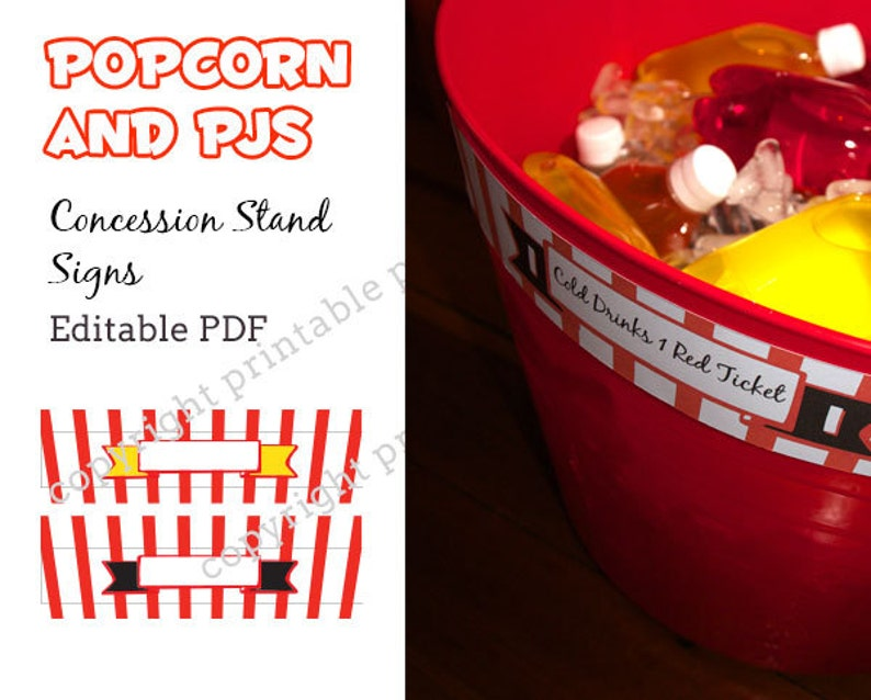 image relating to Concession Stand Signs Printable called Popcorn and PJs concession stand indicators - editable pdf - Fast Obtain