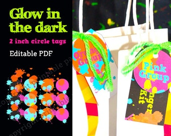 "Glow in the Dark Party Neon Color 2"" circle labels - editable PDF - add your own text"