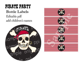 Pirate Party Bottle Labels (for small retro milk bottles or similar) - editable pdf