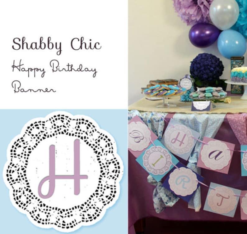 Shabby Chic Happy Birthday Banner image 0