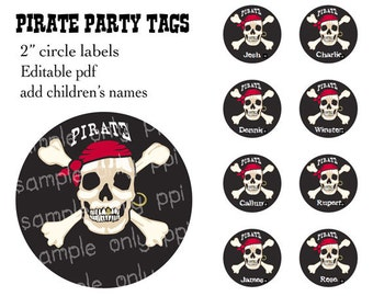 "Pirate Party 2"" circle labels - editable PDF - add your own text"