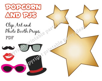 Popcorn and PJs Clip art and and photo booth props