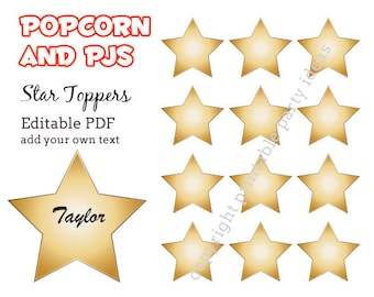 """Popcorn and PJs Party 2"""" star labels - editable PDF - add your own text"""