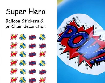 Super Hero / Comic Book Balloon Stickers and or Chair Decoration
