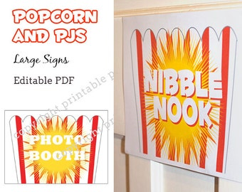 Popcorn and PJs large signs - editable pdf - INSTANT DOWNLOAD