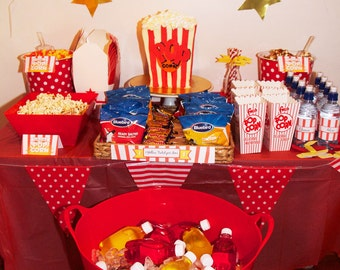 Popcorn and PJs party printable pack - INSTANT DOWNLOAD