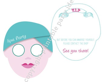 Pacific Beauty Spa Party invitations - editable PDF - add your own text