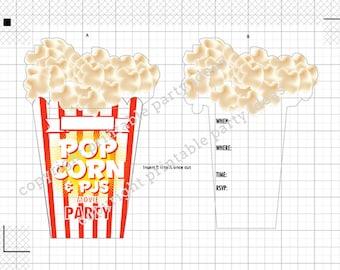 SVG Cut Files - Popcorn and PJs sleepover movie night Invitation - Cricut Design Space, Silhouette Studio, Cut Files and PDF Print Files