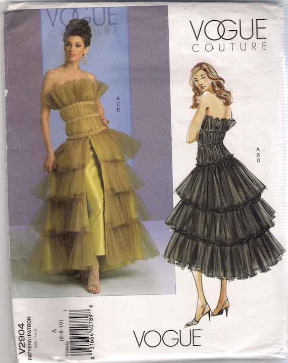 Vogue Couture Sewing Pattern 2904 Top Skirt Overskirt Size