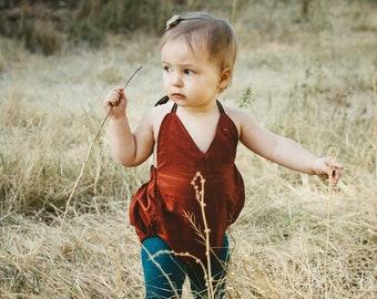 Rust V-neck Romper- Bubble- Sunsuit- Rust- Baby Girl- Birthday- Fall