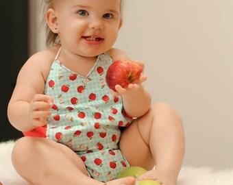 Blue gingham apple vneck romper, back to school, apple, gingham,romper, bubble, fall, apples, blue gingham, sunsuit