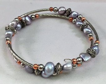 Wire Wrap Bracelet Fresh water Pearls in Lavender and Rose Gold and silver twist tones Handcrafted 6-7mm Beads NEW