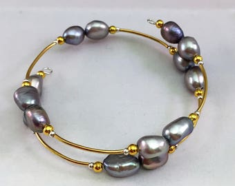 Wire Wrap Bracelet Fresh water Pearls in Lavender with silver and Gold tones Handcrafted 9-10mm Beads NEW