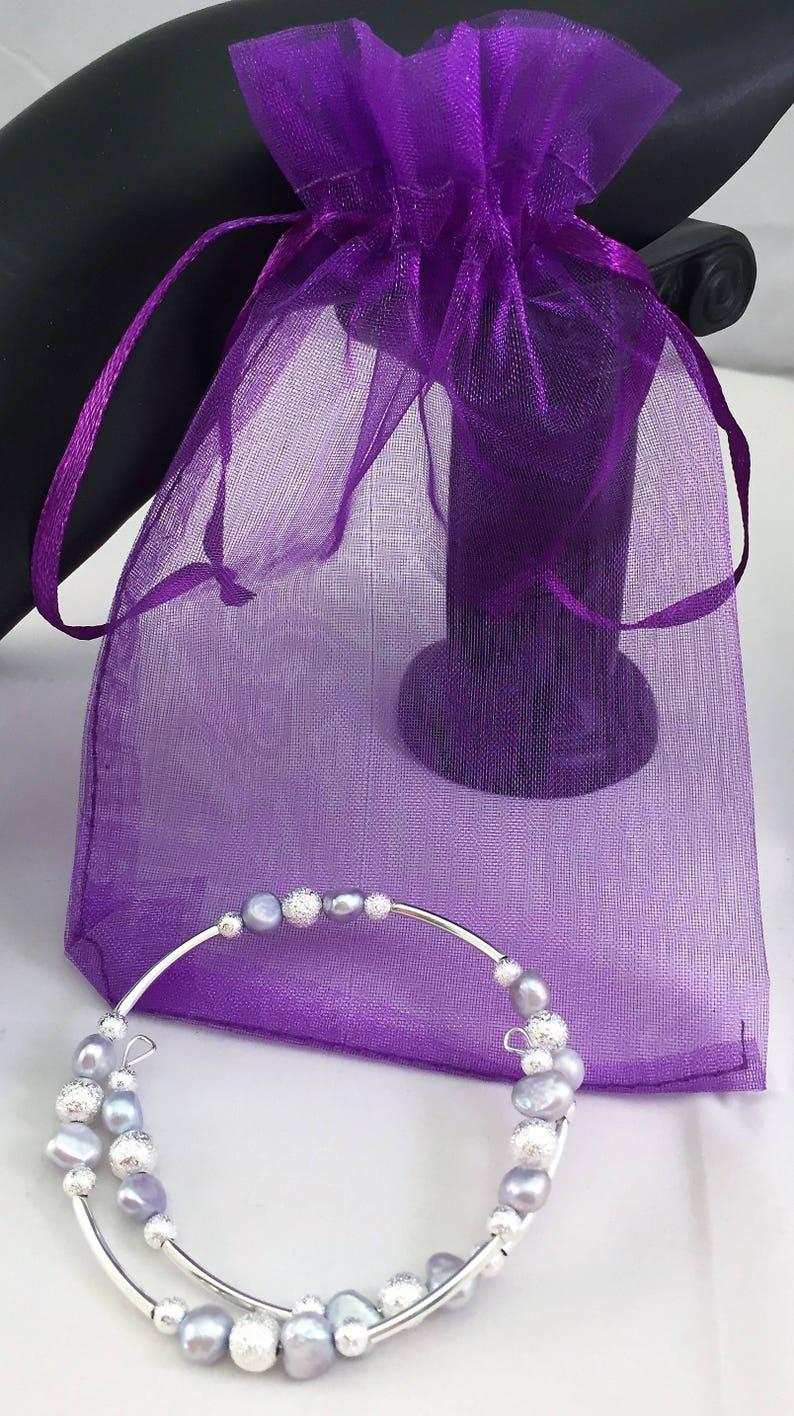 Wire Wrap Bracelet Fresh water Pearls in light lavender and Silver tones Handcrafted 6mm Beads NEW