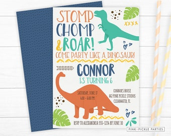 Dinosaur Invitation Birthday Invites Party Printable 662