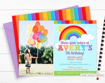 Rainbow Invitation Party Birthday Invites Baby