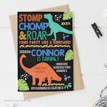 Dinosaur Birthday Invitation, Dinosaur Birthday, Dinosaur Party, Dinosaur Invitations, Digital Invitation, Dinosaur Chalkboard | 662