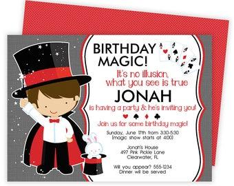 magic party photo invitation magic birthday invitations etsy