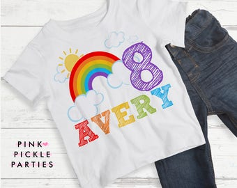 Rainbow Party Birthday Shirts T Shirt Transfers Iron On Transfer