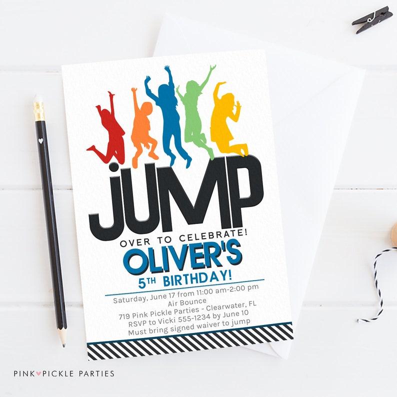 Jump Birthday Invitation Jump Party Invitation Jump image 0