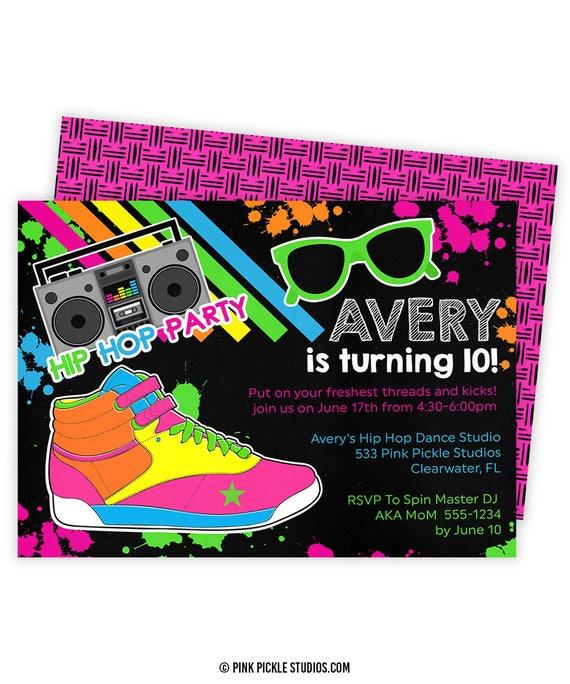 hip hop invitation hip hop party dance invitation dance etsy