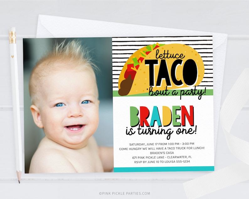 Taco Invitation Fiesta Invitation Mexican Invitation Taco image 0
