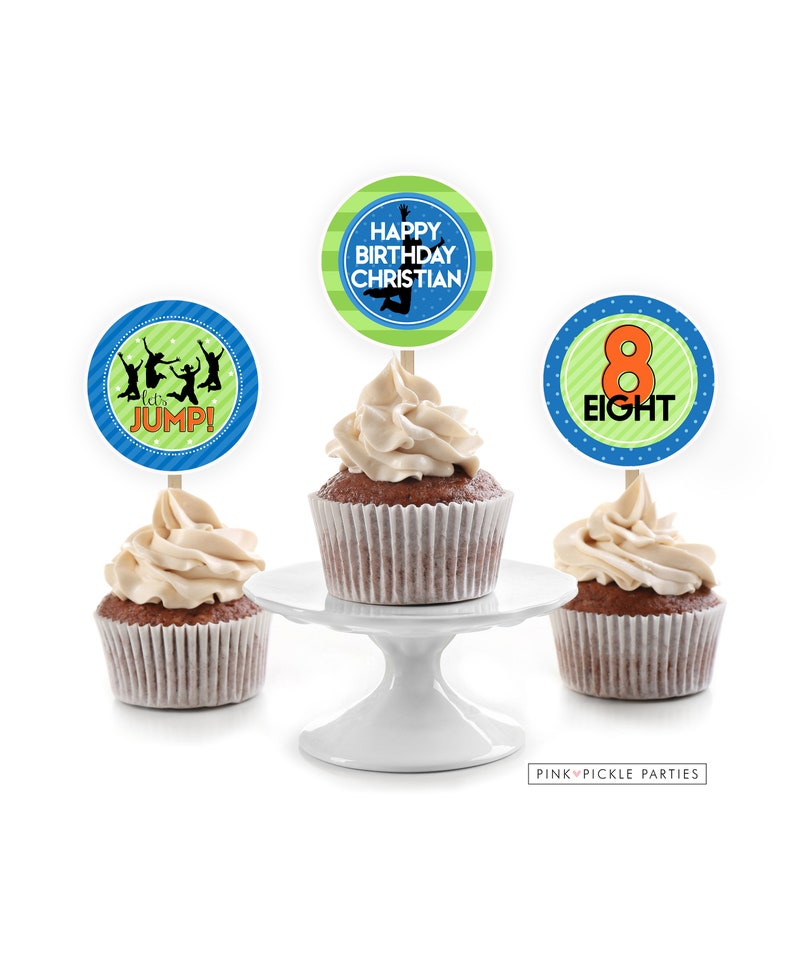 Trampoline Cupcake Toppers Jump Cupcake Toppers Bounce House image 0