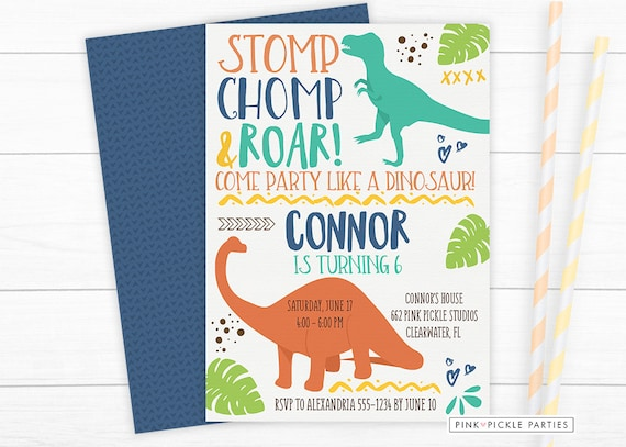 dinosaur invitation dinosaur birthday invitation dinosaur etsy