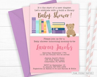 Book Baby Shower Invitation, Book Baby Shower Invite, Baby Shower Invitation,  Baby Shower, Girl Baby Shower, Baby Shower Invite | 168