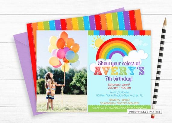 Rainbow Invitation Party Birthday