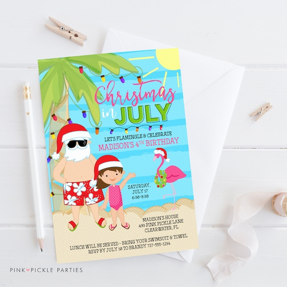 Christmas In July Swimsuit.Christmas In July Invitation Christmas Flamingo Flamingo Invitation Holiday Invitation Santa Invitation Printable Invitation 726