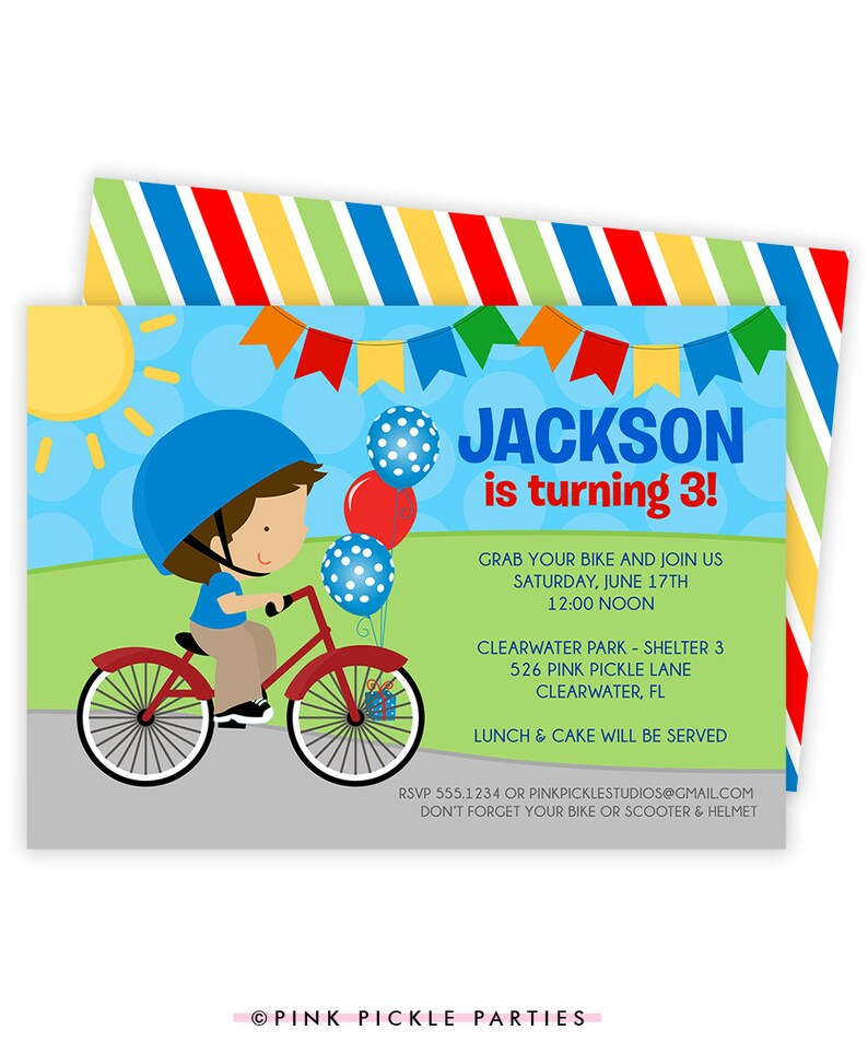 Bicycle Invitation Bicycle Invitations Bicycle Birthday image 0