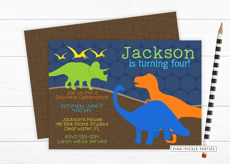 Dinosaur Birthday Party Invitation Dinosaur Birthday Boy image 0
