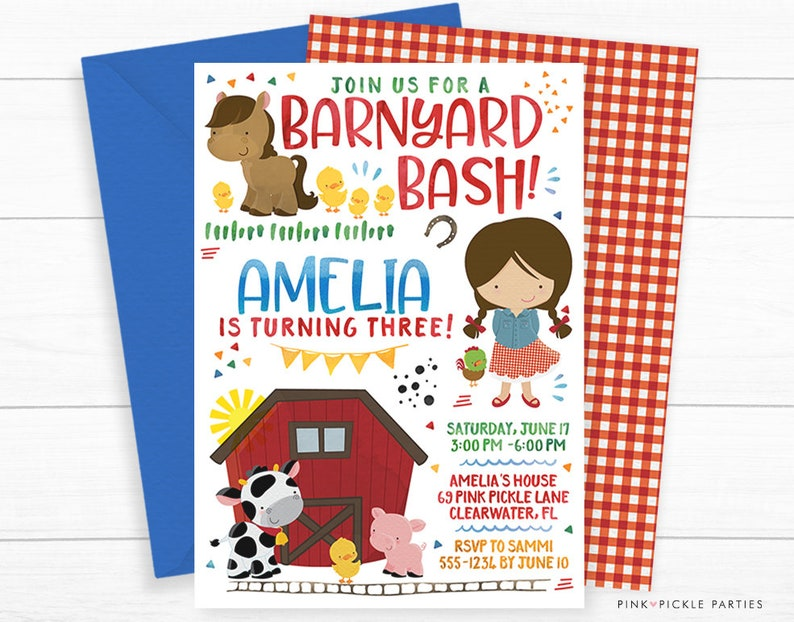 Farm Invitations personalized for your Farm Birthday Party image 0
