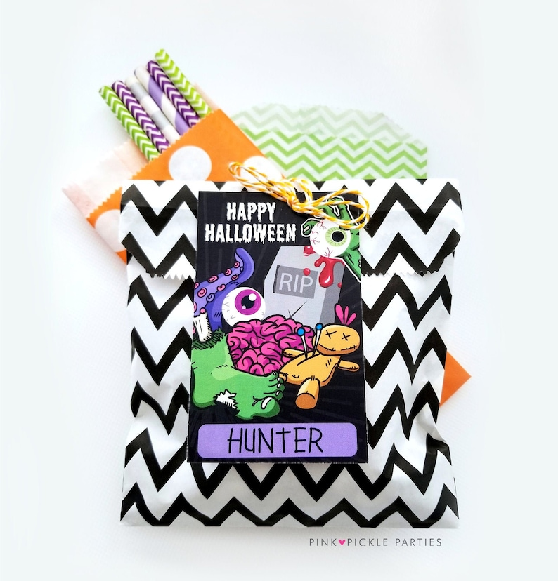 Zombie Favor Tags Halloween Favor Gift Tags for Kids Zombie image 0