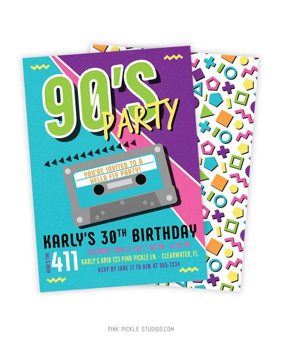 90s invitation 90s invite 90s birthday 90s birthday party etsy