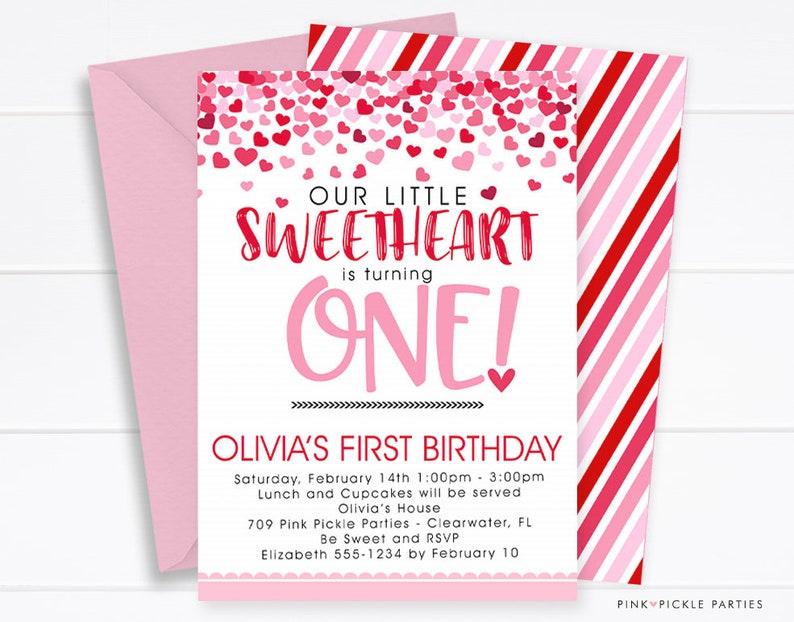 Sweetheart Birthday Invitation Valentine Valentines Day 1st Little