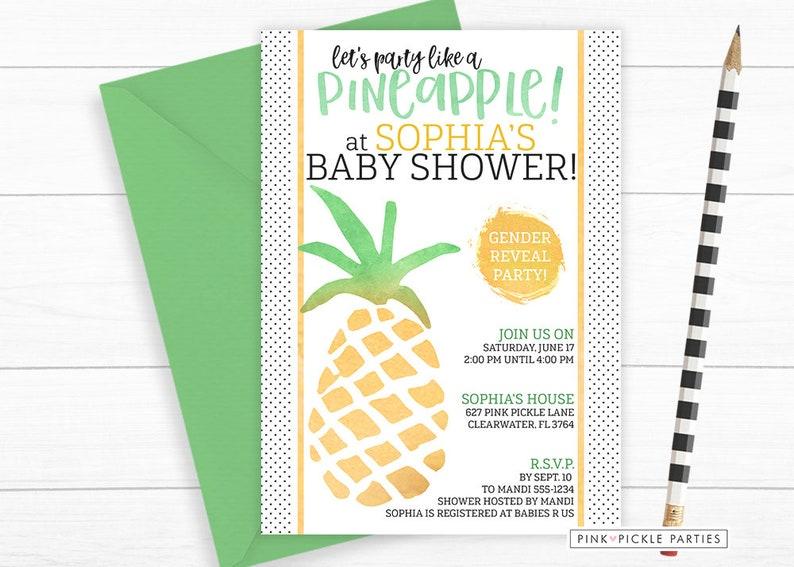 Pineapple Invitation Pineapple Invitation Baby Shower image 0
