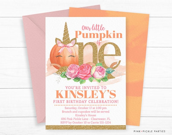 pumpkin unicorn invitation pumpkin first birthday invitation etsy