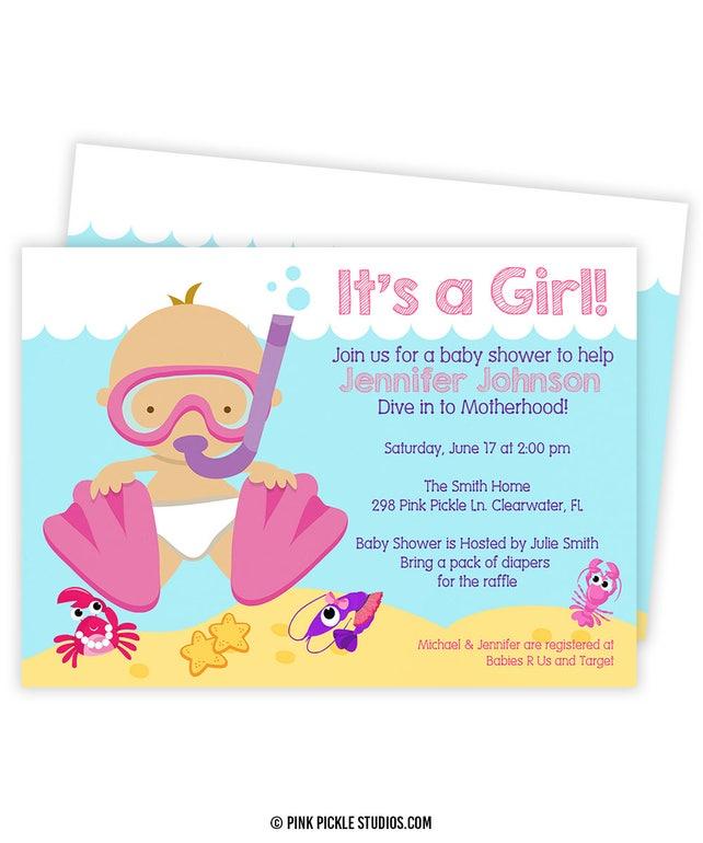 Baby-Taucher-Einladung Taucher Party Babyparty Taucher   Etsy