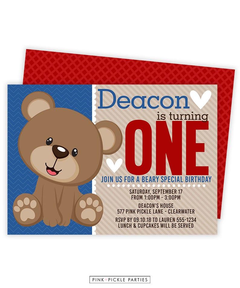 Teddy Bear Invitation Teddy Bear 1st Birthday Bear Etsy