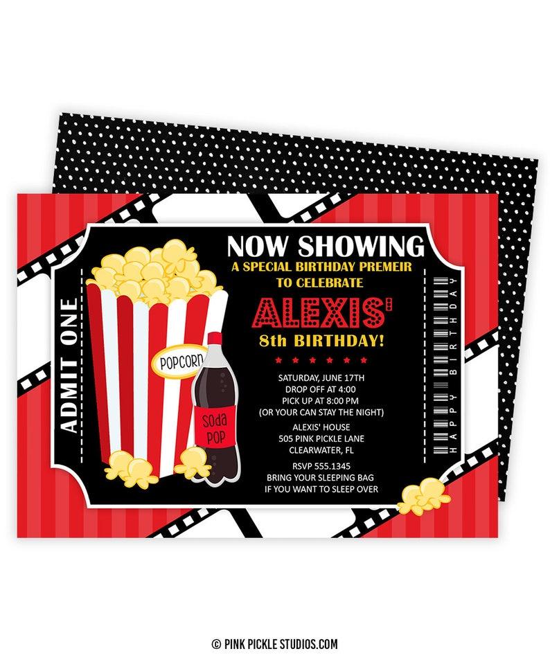 Movie Invitation  Movie Party  Movie Birthday  Birthday image 0