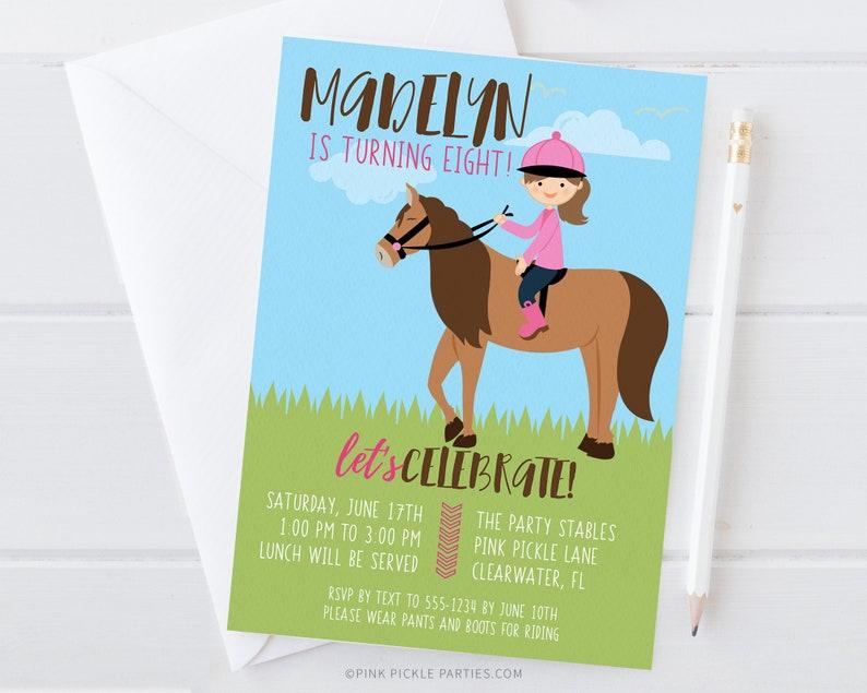 Girl Horse Birthday Invitation Horse Invitations Horse image 0