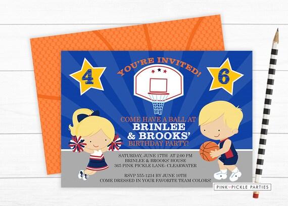 basketball invitation basketball birthday party cheerleading etsy