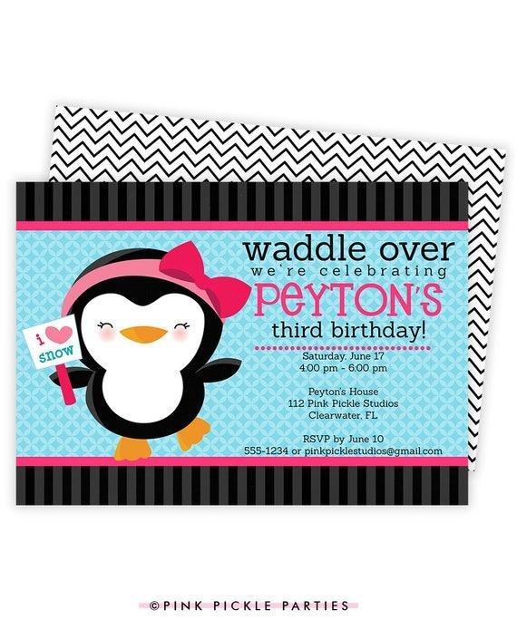 Pinguin Einladung Pinguin Geburtstags Party Etsy